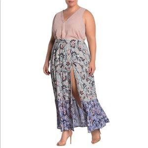 Angie Floral Tiered High Slit Maxi Skirt Long NWT